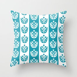 Mid Century Modern Flower Stripes Pattern Turquoise Throw Pillow