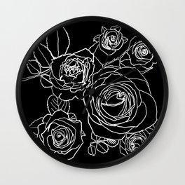 Feminine and Romantic Rose Pattern Line Work Illustration on Black Wall Clock