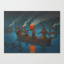 Beautiful Vintage Japanese Woodblock Print Japanese Fisherman Flame Torch Canvas Print