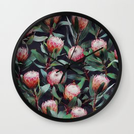 Evening Proteas - Pink on Charcoal Wall Clock