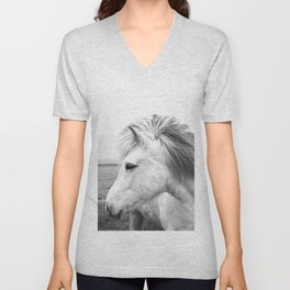 White Horse Unisex V-Neck