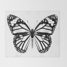 Monarch Butterfly | Black and White Throw Blanket