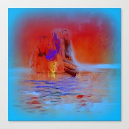 A Late Night Swim with Friends Canvas Print