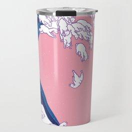 Llama Waves in Pink Travel Mug
