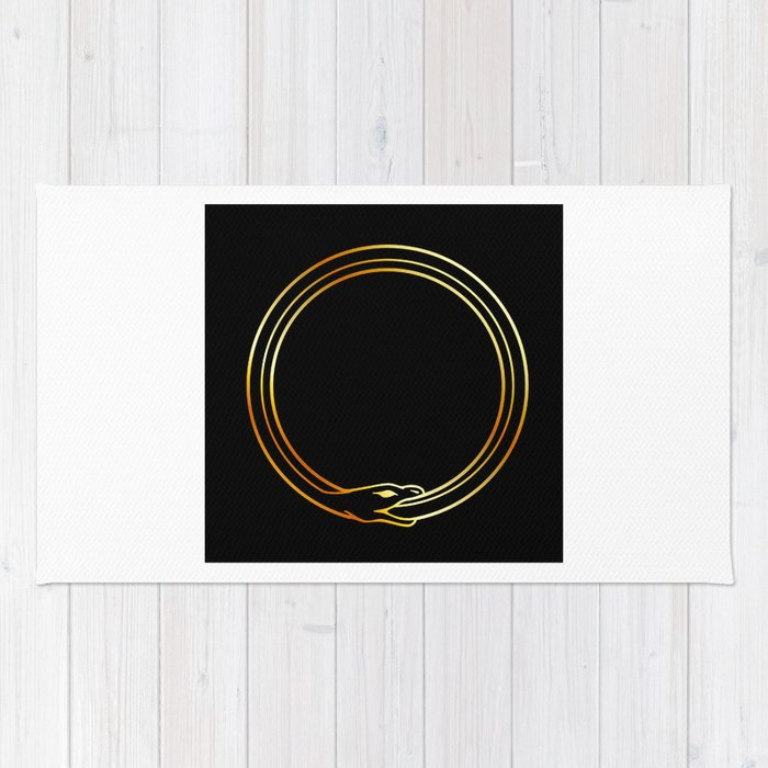 The Symbol Of Ouroboros Snake In Gold Colors Rug By Shawlinmohd
