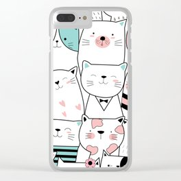 Hipster Cats Clear iPhone Case