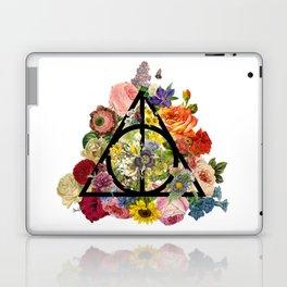 Floral Deathly Hallows - Black Laptop & iPad Skin