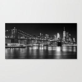 MANHATTAN SKYLINE & BROOKLYN BRIDGE Nightly Impressions | Panoramic Monochrome Canvas Print