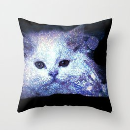 Cat white glitter Throw Pillow