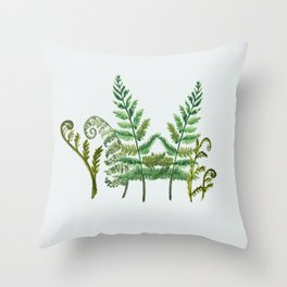 Fern Collage with Light Blue Gray Background Throw Pillow