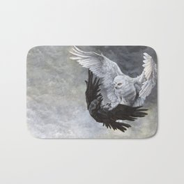 Yin Yang Owl and Raven Bath Mat