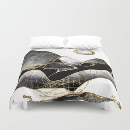 Minimal Black and Gold Mountains Duvet Cover