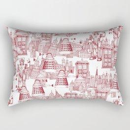 Doctor Who Toile de Jouy | 'Walking Doodle' | Red Rectangular Pillow