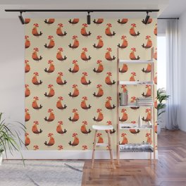 Roosters Pattern Wall Mural