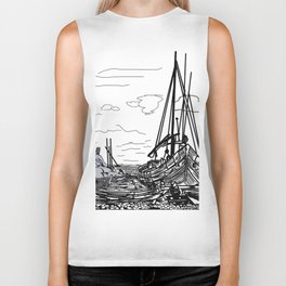 boats on the sea . https://society6.com/vickonskey/collection Biker Tank