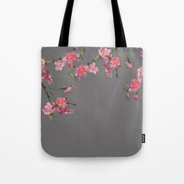 Cherry Flowers grey background Tote Bag