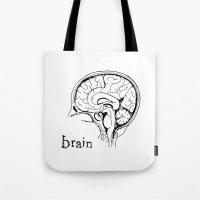 brain Tote Bags featuring Brain by Etiquette