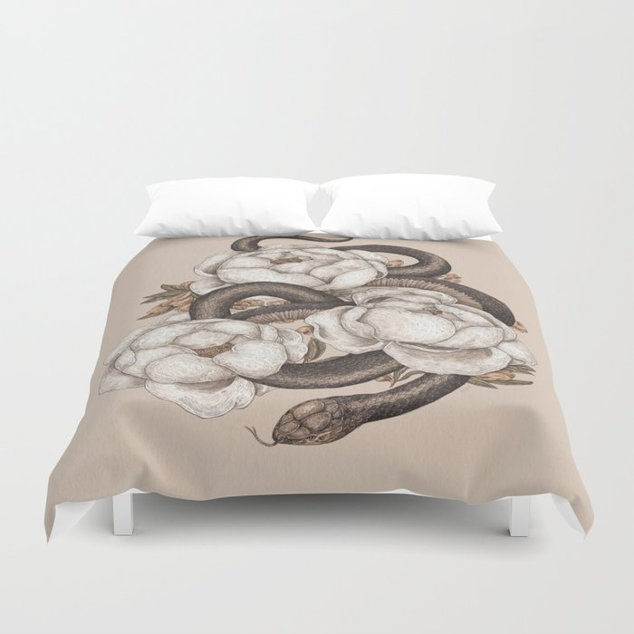 Snake and Peonies Duvet Cover