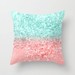 Summer Vibes Glitter #1 #coral #mint #shiny #decor #art #society6 Throw Pillow