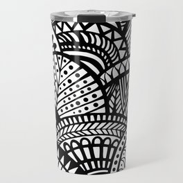 Black Tropical Ethnic Print Travel Mug