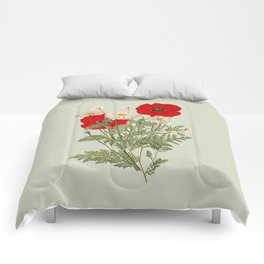 A country garden flower bouquet -poppies and daisies Comforters