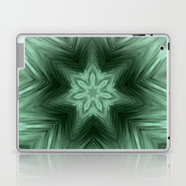 Green Star Flower Blossom Metallic Color #Pattern #Background Laptop & iPad Skin