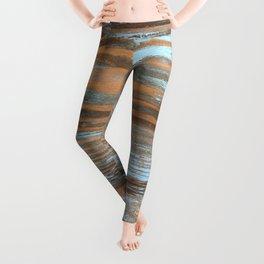 Vintage Wood With Color Splashes Leggings