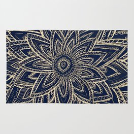 Cute Retro Gold abstract Flower Drawing  geometric Rug