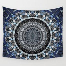 Dark Blue Grey Mandala Design Wall Tapestry