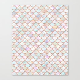 Pastel Memaid Scales Pattern Canvas Print