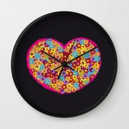 Retro Heart Flower Power Wall Clock