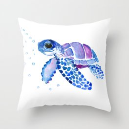 Blue Purple Sea Turtle, Children artwork Throw Pillow