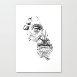 MARCUS AURELIUS ANTONINUS AUGUSTUS / black / white Canvas Print