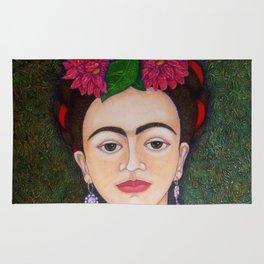 Frida Kahlo portrait with dalias Rug
