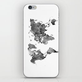 World map in watercolor gray iPhone Skin