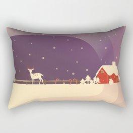 Peaceful Snowy Christmas (Plum Purple) Rectangular Pillow
