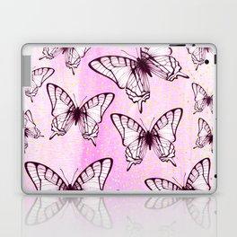 butterfly pattern on pastel pink Laptop & iPad Skin