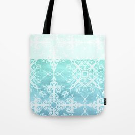 Mermaid's Lace - White Patterned Aqua / Mint Watercolor Wash Tote Bag