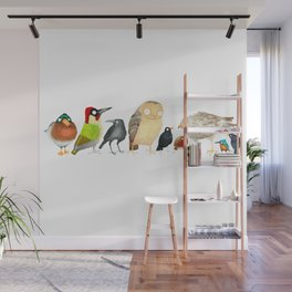 Woodland Bird Collection in white Wall Mural