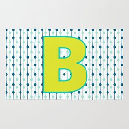 Letter B Monogram Blue, Green and Yellow with Pattern Rug