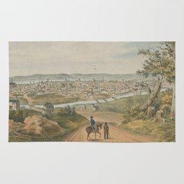 Vintage Pictorial Map of Cincinnati OH (1841) Rug