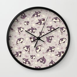 Jelly bean orcas Wall Clock