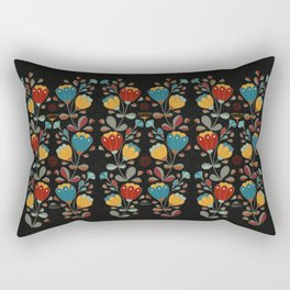 Vintage Ethno Flowers in red, blue, yellow on black Rectangular Pillow