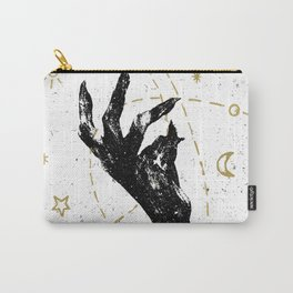 Black witch`s hand with cosmos illustration on white textured ba Carry-All Pouch