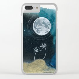 Moon Series #11 Watercolor + Ink Painting Clear iPhone Case