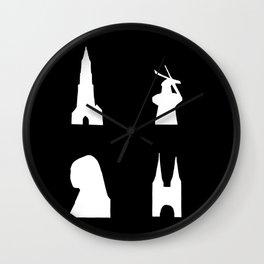 Delft silhouette on black Wall Clock