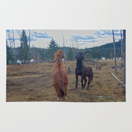 The Challenge - Ranch Horses Fighting Rug