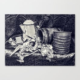 Black and White Country Kitchen Canvas Print