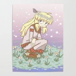 Butterfly Flower Hippie Girl Poster