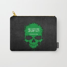 Flag of Saudi Arabia on a Chaotic Splatter Skull Carry-All Pouch